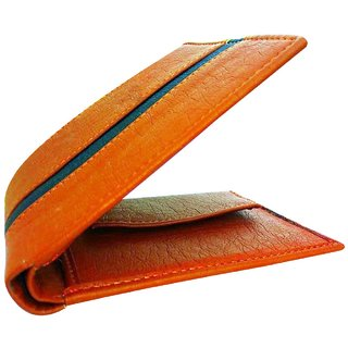 Pure Leather (pu) purse for men, Tan with Black Stripe (M-0023) (Synthetic leather/Rexine)