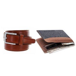 Unique Collections Combo of Denim Bi-fold Wallet & Brown Belt ( Dw-033)