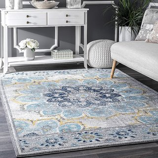 Status 3D Printed Vintage Persian Carpet Rug Runner For Bedroom/Living Area/Home with Anti Slip Backing ( 4x 5 Feet-Medium , Multi)-Pack of 1