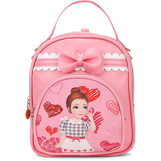 Envie Pink Colour Printed Backpack for School Girls