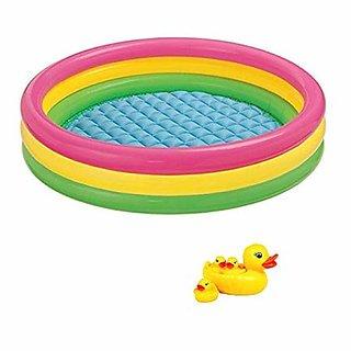4 Yellow Rubber Ducks Bath Toy Babies free 3 feet Kids Swimming Pool / Water Pool Bath Tub Multicolor (3 Feet) grM