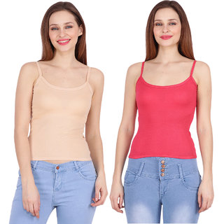 Ketex Pink And Beige  Hosiery Camisole (Pack Of 2)