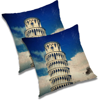 RADANYA Printed Polyester Cushion Cover Set of 2 Blue,24x24 Inches