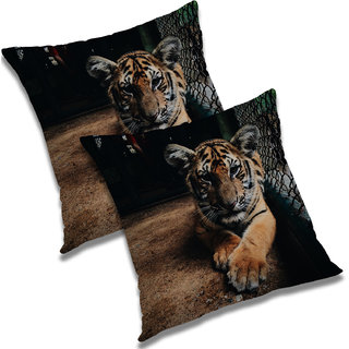 RADANYA Printed Polyester Cushion Cover Set of 2 Multicolor,20X20 Inches