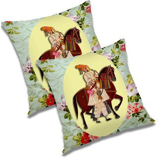 RADANYA Printed Polyester Cushion Cover Set of 2 Yellow,20X20 Inches