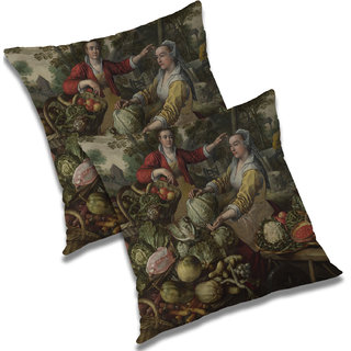 RADANYA Printed Polyester Cushion Cover Set of 2 White,18X18 Inches