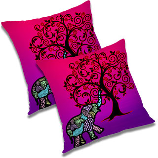 RADANYA Printed Polyester Cushion Cover Set of 2 Pink,12x12 Inches