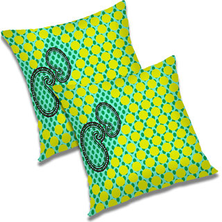 RADANYA Paisley Polyester Cushion Cover Set of 2 Green,24X24 Inches