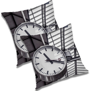 RADANYA Printed Polyester Cushion Cover Set of 2 Black,16X16 Inches