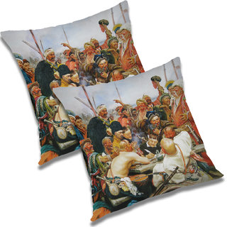 RADANYA Printed Polyester Cushion Cover Set of 2 White,24X24 Inches