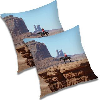 RADANYA Printed Polyester Cushion Cover Set of 2 Brown,18X18 Inches