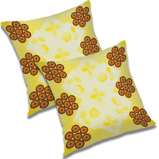 RADANYA Abstract Polyester Cushion Cover Set of 2 Yellow,20x20 Inches