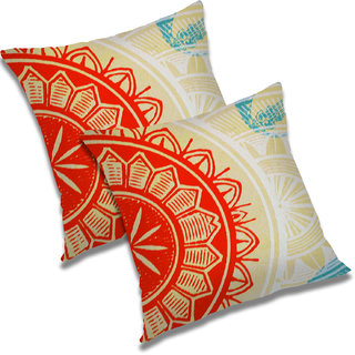 RADANYA Abstract Polyester Cushion Cover Set of 2 Orange,20x20 Inches