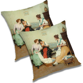 RADANYA Printed Polyester Cushion Cover Set of 2 Green,20X20 Inches