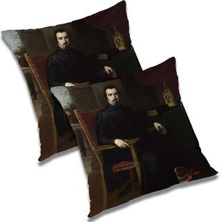 RADANYA Printed Polyester Cushion Cover Set of 2 Grey,24X24 Inches