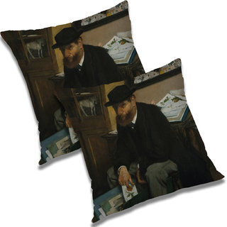 RADANYA Printed Polyester Cushion Cover Set of 2 White,16X16 Inches