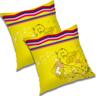 RADANYA Floral Polyester Cushion Cover Set of 2 Yellow,12X12 Inches