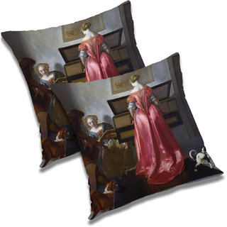 RADANYA Printed Polyester Cushion Cover Set of 2 Blue,20X20 Inches