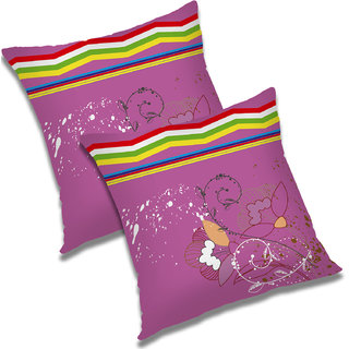 RADANYA Floral Polyester Cushion Cover Set of 2 Pink,12X12 Inches