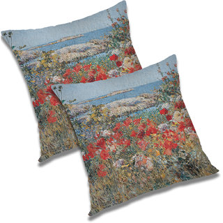 RADANYA Floral Polyester Cushion Cover Set of 2 Multicolor,20X20 Inches