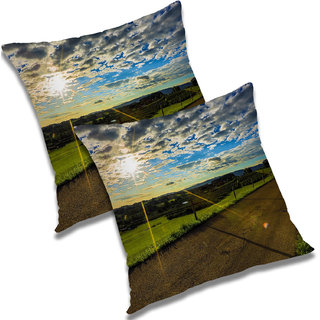 RADANYA Printed Polyester Cushion Cover Set of 2 Green,18X18 Inches