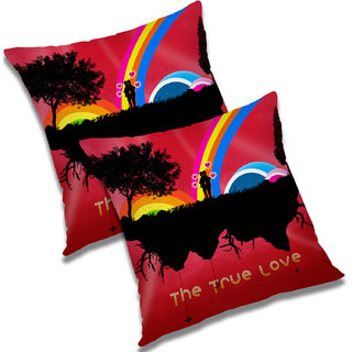 RADANYA Printed Polyester Cushion Cover Set of 2 Red,16X16 Inches