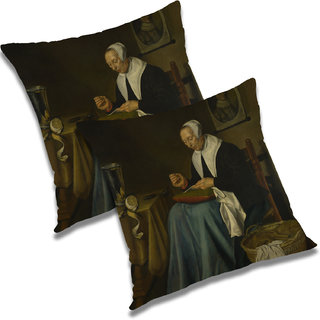 RADANYA Printed Polyester Cushion Cover Set of 2 White,12X12 Inches