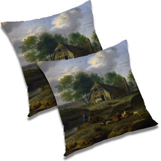 RADANYA Printed Polyester Cushion Cover Set of 2 Multicolor,16X16 Inches