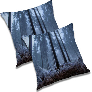 RADANYA Printed Polyester Cushion Cover Set of 2 Blue,12X12 Inches