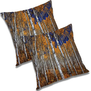 RADANYA Printed Polyester Cushion Cover Set of 2 Beige,12X12 Inches