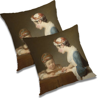RADANYA Printed Polyester Cushion Cover Set of 2 White,20X20 Inches