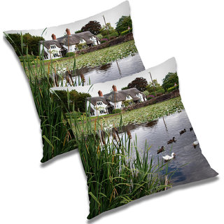 RADANYA Printed Polyester Cushion Cover Set of 2 Green,16X16 Inches