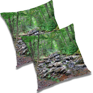 RADANYA Printed Polyester Cushion Cover Set of 2 Green,12X12 Inches