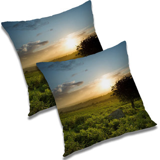 RADANYA Printed Polyester Cushion Cover Set of 2 Green,24X24 Inches