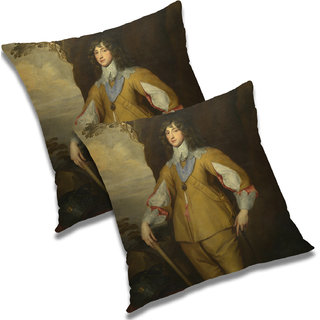 RADANYA Printed Polyester Cushion Cover Set of 2 Multicolor,24X24 Inches
