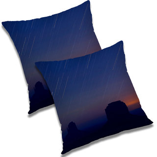 RADANYA Printed Polyester Cushion Cover Set of 2 Blue,18X18 Inches