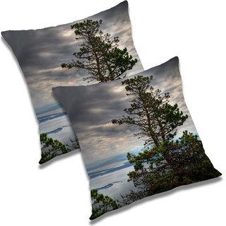 RADANYA Printed Polyester Cushion Cover Set of 2 Grey,20X20 Inches