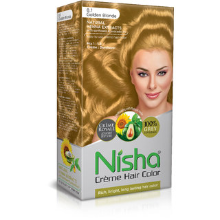 Nisha Cream-Based Hair Color (60gm + 90ml + 18ml Nisha Conditioner with Natural Herbs) (Pack of 1) Golden Blonde 8.1