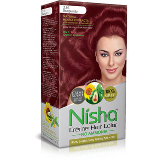 Nisha Cream-Based Hair Color (60gm + 60ml + 18ml Nisha Conditioner with Natural Herbs) (Pack of 1) Burgundy 3.16