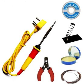 Pronto India 25W Soldering Iron Kit | Soldering Wire | Soldering Flux | Wire Cutter Stand | Wick 25 W Simple  (Flat Tip)