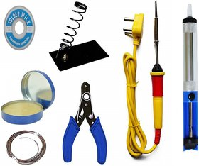 Soldering iron kit with desolder pump and 1 mtr solder wire 25 W Simple  (Conical Tip)