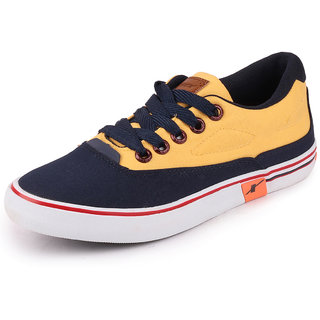 Sparx Mens Navy Blue Yellow Sneakers