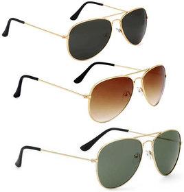 David Martin Golden  Brown + Golden  Green + Golden  Black 3 PCS Unisex Aviator Sunglasses