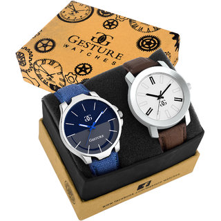 Gesture 9012-Multicolor Leather Strap Combo Pack of 2 Analog Watch - For Men