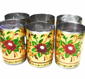 Metalcrafts Stainless glass with meena work, flower design, set of 6, 10 cm