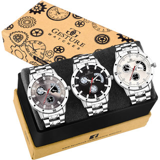 Gesture 9003-Combo Of Three Metallic Analog Watch-For Men
