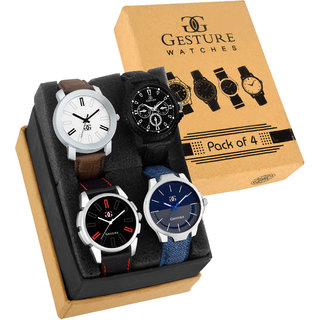 Gesture 9013-New Exclusive Multi color Round Dial combo Analog Black Brown Blue Watch - For Men