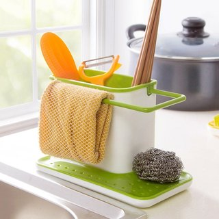 Deluxe 3 in 1 Stand for Kitchen Sink for Dishwasher Liquid Brush Sponge Soap Holder Plastic Racks Organizer Storage