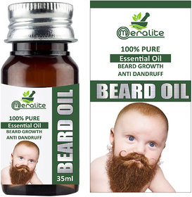 Meralite Men Beard Growth 100 Natural Essential Hair Oil (Baby Beard Oil 35 ml)