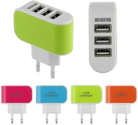 KSJ 3 USB/ Triple USB Mobile Fast Charger for Smartphones - Assorted Colors